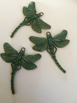 Dragonfly Charm//Pendant Tibetan Steampunk Antique Bronze 43mm  5 Charms Crafts