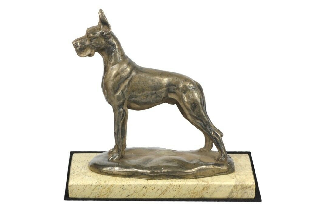 Great Dane type 2 - sculpture made of Bronze on the sand marble, Art Dog