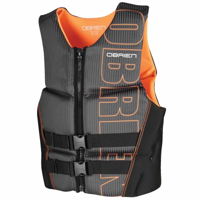 OBrien BioLite Series Men's Flex V Back Neoprene Life Vest Size XS, Black/Orange
