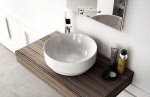 Lavandino lavabo bagno tondo da appoggio moderno design giò