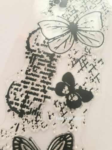 BUTTERFLY CLEAR RUBBER STAMP-LARGE STEAMPUNK-BUTTERFLIES  BACKGROUND-MULTI MEDIA