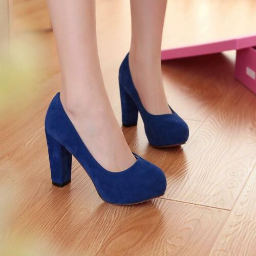 Womens Ladies Round Toe Slip On Pumps Chunky High Heels Faux Suede Classic Shoes