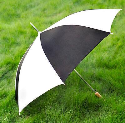 "New 48"" Black / White Auto-Open Rain Umbrella By Barton Outdoors Photo Weddings"