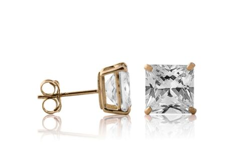 2.00CT Princess Brilliant Cut 14K Yellow//White Solid Gold Stud Earrings