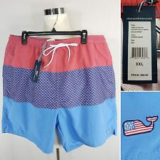 "VINEYARD VINES NEW Men's XXL American Flag Whale 5"" Sandbar Swim Shorts Trunks"