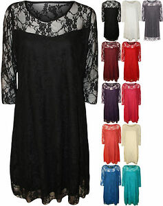 New-Plus-Womens-Lace-Lined-Ladies-3-4-Sleeve-Knee-Length-Stretch-Dress