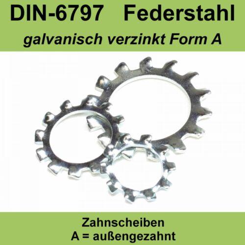 M8 8,4 DIN 6797 Zahnscheiben verzinkte Form A außengezahnte AZ Federstahl f