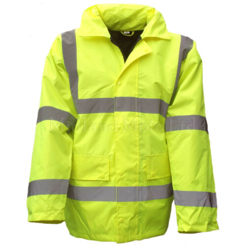Hi Vis High Visibility Yellow Waterproof Coat Jacket Anorak Parka Viz EN471
