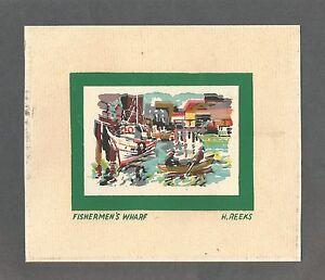 Vintage-Silk-Screen-Print-Harry-Del-Reeks-SF-Fishermans-Wharf-Image
