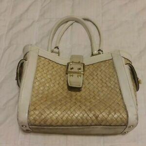467fdb592d COACH 4419 Natural Straw & Off White Leather Suede Trim Tote Bag ...