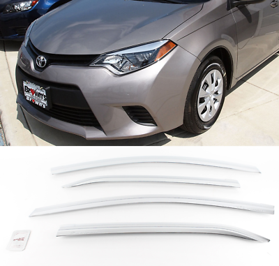 Chrome Window Visor Sun Rain Vent Guard Silver D-953 for Toyota Collora 2014~19