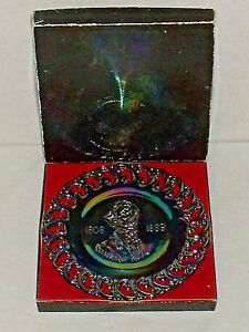 Black-Amethyst-Carnival-Glass-Plate-JEFFERSON-DAVIS-By-LE-Smith-In-Box-Vtg-9-034