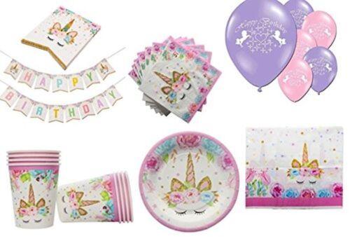 Mágico Unicornio kits de fiesta de cumpleaños Tazas PANCARTAS /& GLOBOS Servilletas Placas