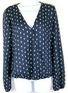 Vixbe-Womens-Blue-White-Long-Sleeve-Blouse-Top-Size-Medium-NEW