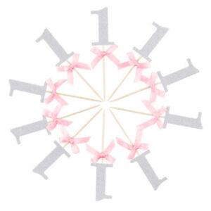 Eg-10Pcs-1st-Geburtstag-Band-Schleife-Cupcake-Deckel-Baby-Dusche-Party-Dekor