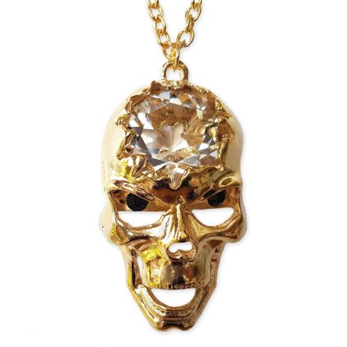 Diamante Crystal GOLD SKULL Pendant Charm Statement Necklace Steam Punk Gothic