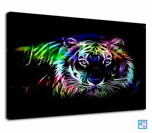 Royal Bengal Tiger Neon Art For Drawing Room Canvas Wall Art Picture Print