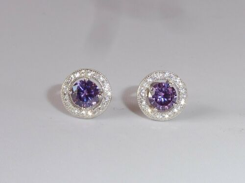 Ladies Sterling 925 Solid Silver White Sapphire and Amethyst Target Earrings