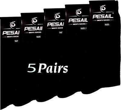 6 Paires De Homme Coton Riche Plain Black chaussettes Noir Taille 9-12