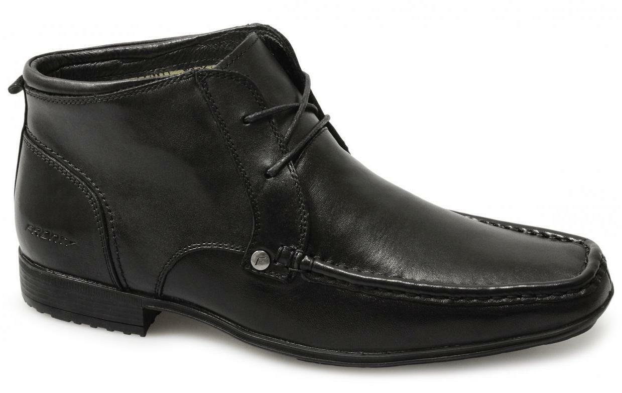 Front CLARKSON Mens Lace-Up Leather Formal Office Moccasin Ankle Boots Black New