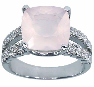 Rose Quartz Gemstone Cushion Sparkling Sterling Silver Ring