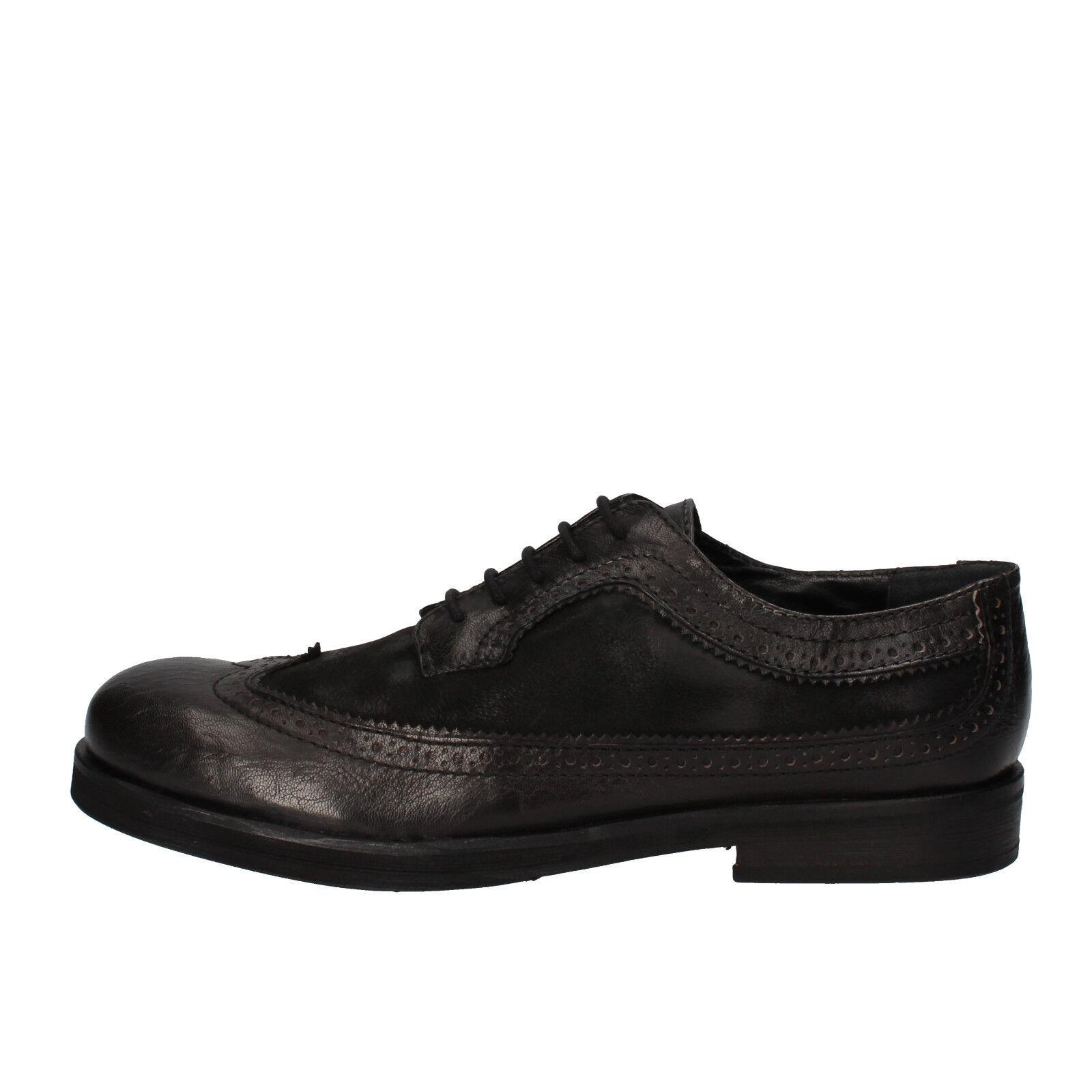 Scarpe da uomo CRIME 8 (EU 42) eleganti neri in pelle e pelle scamosciata AE321-F