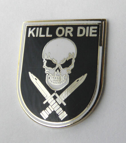 Kill or Die Skull and Cross Swords Biker Lapel Pin 1 inch