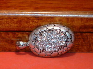 Pre-Owned-Men-s-Silver-Tone-Stainless-Steel-Rhinestone-Charm