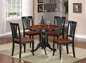 Details about 5PC DINETTE KITCHEN DINING SET TABLE WITH 4 WOOD SEAT CHAIRS  IN BLACK & CHERRY