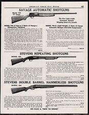 1947 SAVAGE Model 745 STEVENS 620 & 530 Shotgun AD Antique Gun Advertising