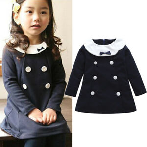 7d04edad18eb Autumn Toddler Kids Baby Girl Long Sleeve Button Warm Princess Dress ...