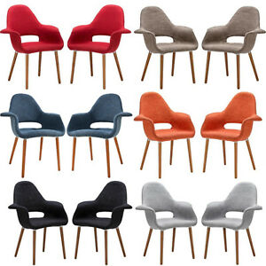 Set-of-2-Saarinen-Style-Twill-Accent-Dining-Arm-Chairs-Red-Blk-Gry-Tau-Ora-Blu