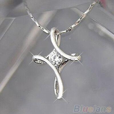 Women Glamor Charm Silver White Plated Crystal Rhinestone Cross Necklace Pendant