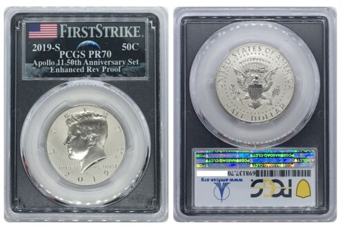 2019-S Apollo-11 50th Kennedy Rev Half Dollar PCGS PR-70 First Strike BLK