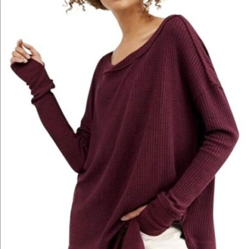 Free People North Shore Burgendy Thermal Tunic Top