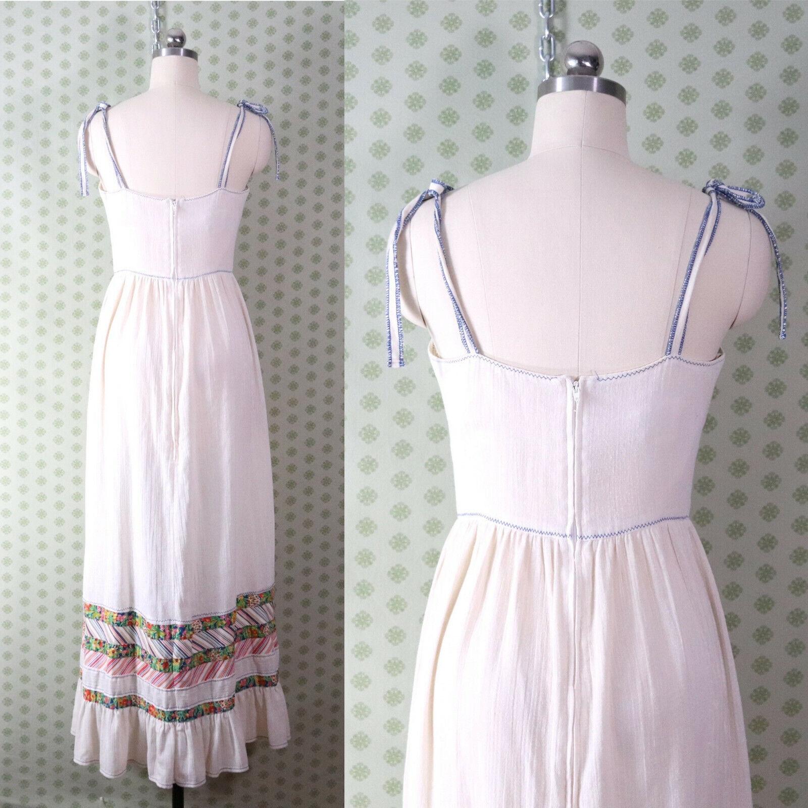 vintage 60s 70s patchwork guaze maxi dress XS pra… - image 3