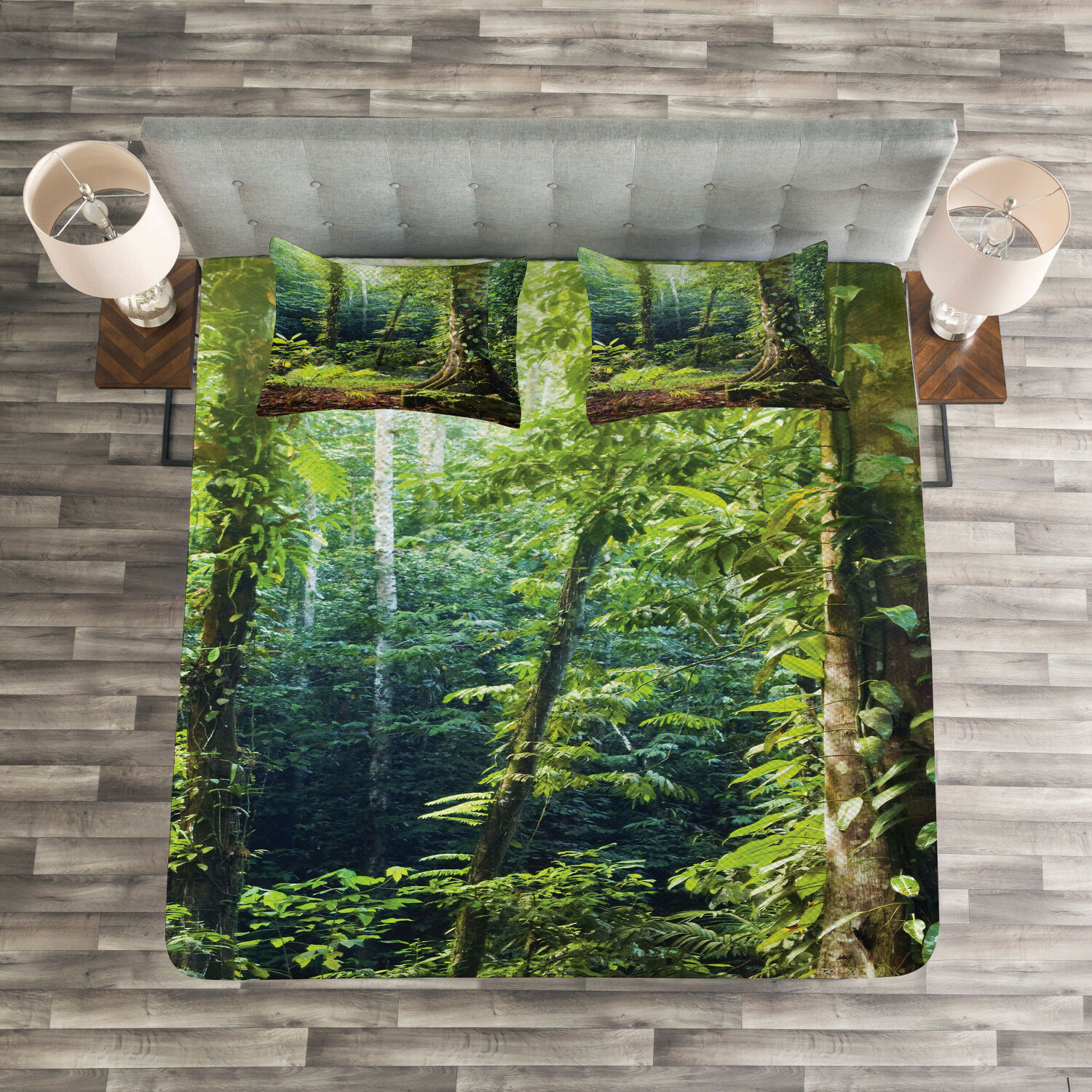 Rainforest Quilted Bedspread & Pillow Shams Set, Wild Ivy on Trees Print