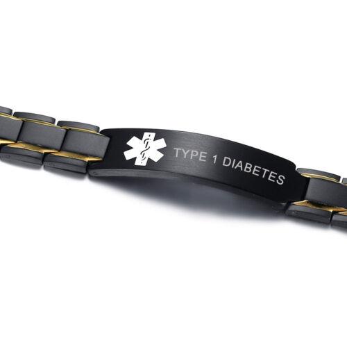 SOS Uomini Braccialetto medico magnete Bracciale Guarigione Terapia Bio Catena diabete di tipo 1