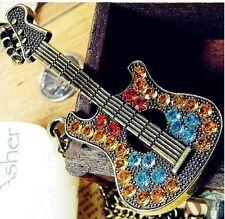 Full Multi Crystal Guitar Long Gold Chain Locket Charm Pendants Necklace  N104