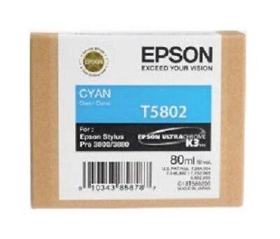 Genuine Epson Pro 3880 T5802 cyan printer ink T580200