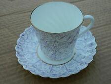 Vintage USSR Lomonosov Porcelain Purple, white & gold Swirl Tea cup and Saucer