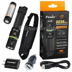 Fenix-UC30-2017-1000-Lumen-CREE-LED-USB-rechargeable-Flashlight-w-AC-DC-chargers