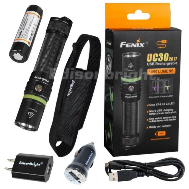 Fenix UC30 2017 1000 Lumen CREE LED USB rechargeable Flashlight w/AC/DC chargers
