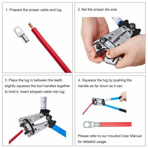 Cable Lug Crimping Tools Hand Electrician Pliers Crimper Wire Cable 6-50mm²