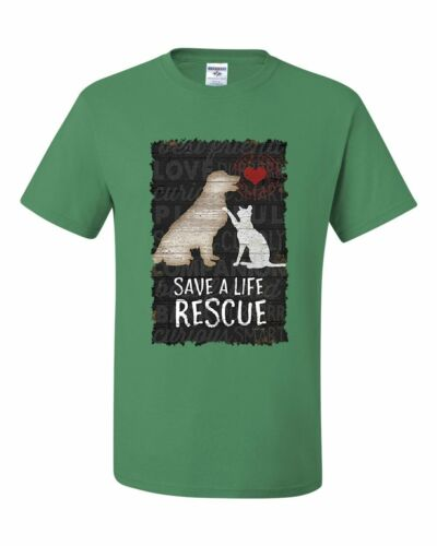 Save a Life Rescue a Pet T-Shirt Dog Cat Kitty Puppy Shelter Paw Tee Shirt