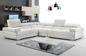 Details about ESF 2119 Modular Sectional Sofa in White Leather - Left or  Right Chaise