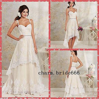 2016 Hi-Lo Detachable Summer Beach Wedding Dresses Bridal Gown Dresses Size 2-28