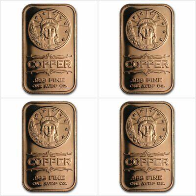 4 X Liberty Head 1 Oz Avdp 999 Copper Bar Bullion Other Bullion Trustful 4 X 1 Once Avdp Cuivre Pur 999