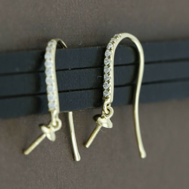Genuine 18CT Solid Yellow Gold & Genuine Diamonds Swan Hooks - 1 Pair