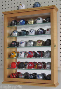 Pocket Pro Mini Helmet Display Case Wall Cabinet, Oak Finish, SCD06B-OA